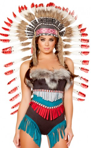 Indian Feather Headdress With Red Tips