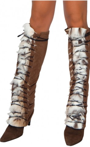 Fur & Suede Lace Up Leg Warmers