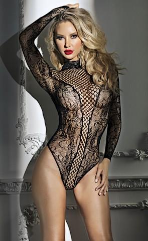 Abigail Long Sleeve Net Lace Bodysuit