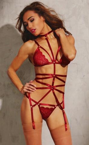 Strappy Lace Bra & Thong Set