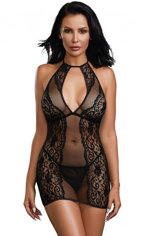 High Neck Sheer Lace Chemise Set