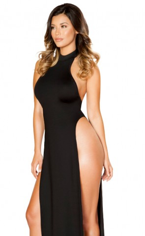 Maxi Halter Neck Dress with High Slits