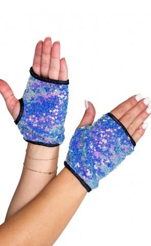 Open Finger Sequin Gloves