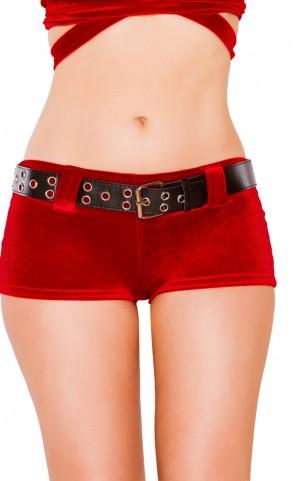 Holiday Velvet Shorts With Belt