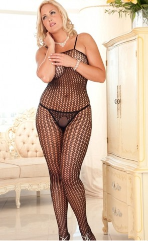 Crochet Net Bodystocking Plus Size
