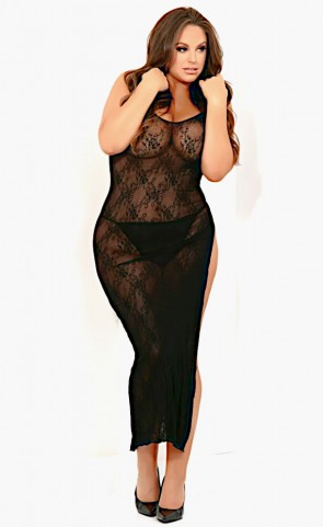 Take The Heat Lace Slit Gown Plus Size