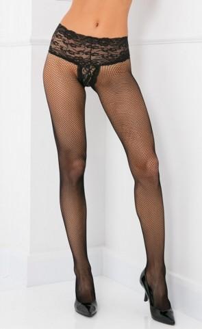 Rene Rofe Lace Top Fishnet Pantyhose
