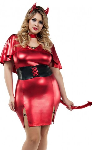 Devilish Beauty Metallic Costume Plus Size