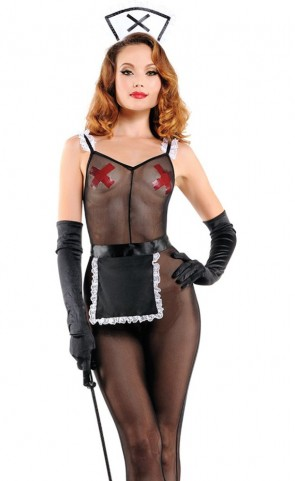 Peek-A-Boo Maid Bodystocking Costume