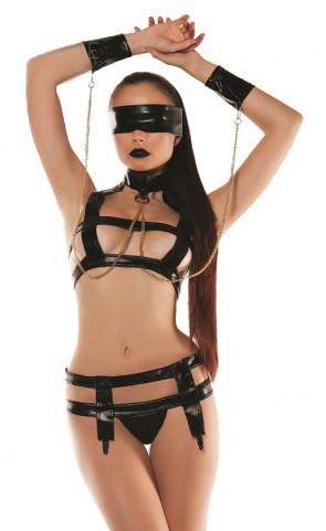 Faux Leather Bondage Top, Cuffs & Thong