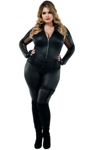 Secret Agent Catsuit Costume Plus Size