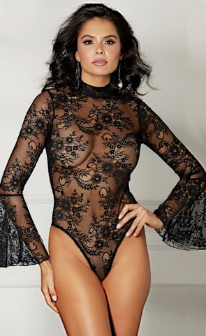 Sheer Lace Bell Sleeved Teddy