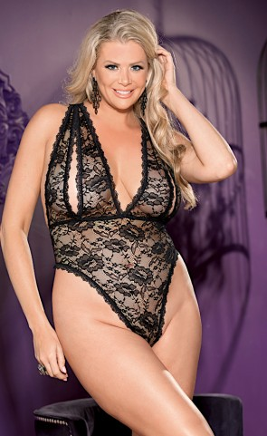 Peek-A-Boo Lace Teddy Plus Size