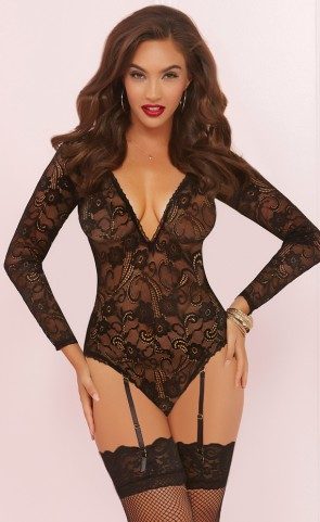 Out of Sight Long Sleeve Lace Teddy