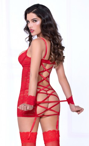 Lace & Dotted Mesh Open Back Chemise