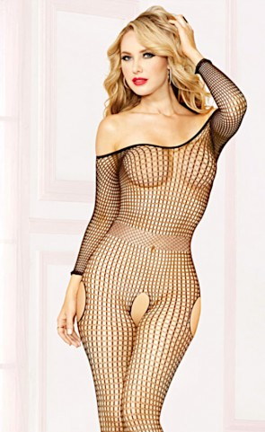 Off The Shoulder Open Crotch Bodystocking