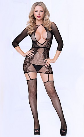 Seamless Floral Net Bodystocking Dress
