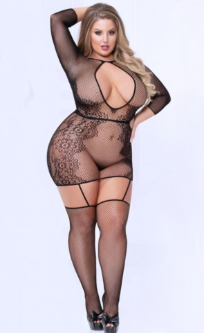 Seamless Floral Bodystocking Dress Plus Size