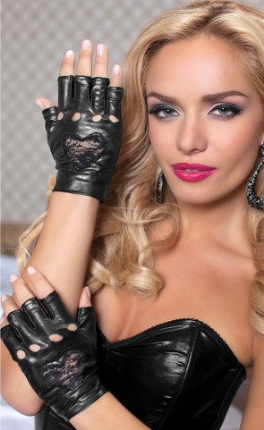 Lame Gloves With Lace Heart