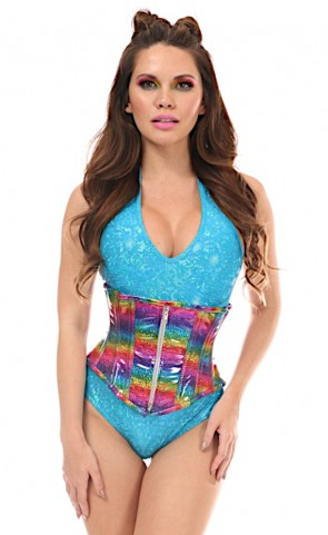 Top Drawer Rainbow Holo Underbust Corset