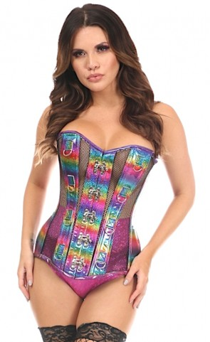 Top Drawer Holo & Fishnet Corset Plus Size