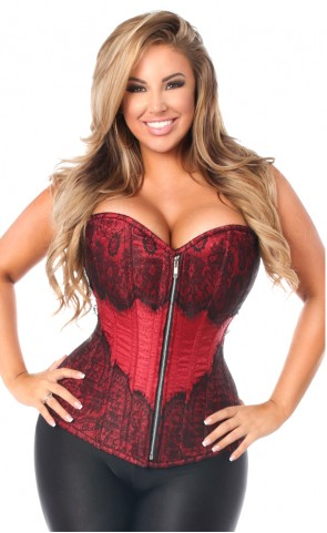 Top Drawer Brocade & Lace Corset Plus Size