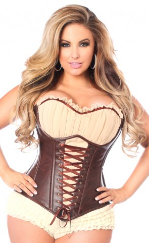 Faux Leather Steel Boned Ren Faire Corset Plus Size