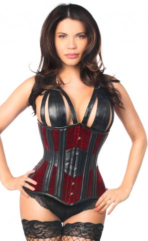 Top Drawer Velvet & Leather Underbust Corset