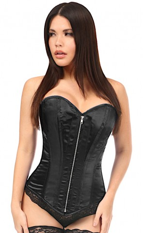 Satin Steel Boned Zip Front Corset